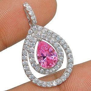 Jewelry - 2CT Pink Sapphire, White Topaz, 925 Silver Pendant
